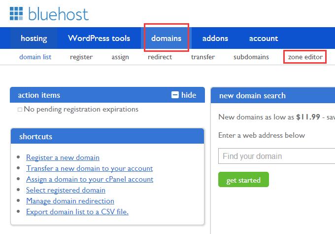 bluehost 域名解析