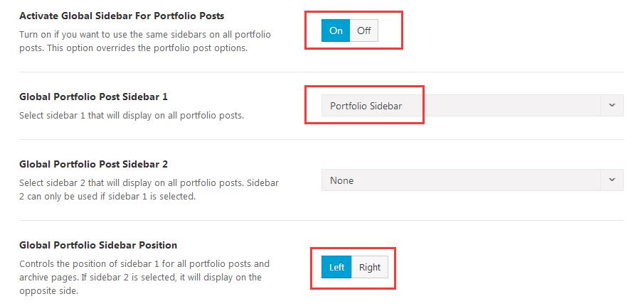 Portfolio posts sidebars