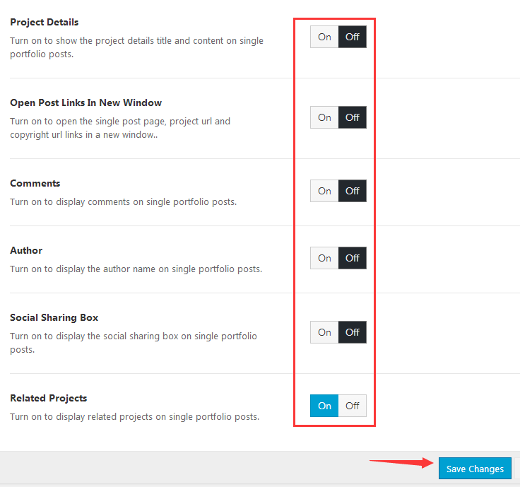 portfolio single post setting 2