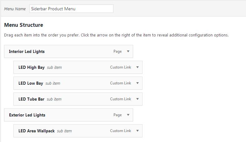 sidebar product menu