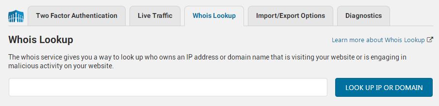 wordfence security plugin whois lookup